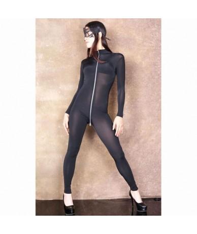 XXL Long Sleeve 3 Zipper Open Crotch Bodysuit Rompers Womens Jumpsuit Transparent Wetlook Bodystocking Sexy Hot Erotic Babyd...