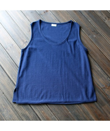 Tank 2019 New Summer Cotton Women Vest Knitted Solid Color O-neck Washed Female Loose Tops - navy blue - 4V3805278729-3