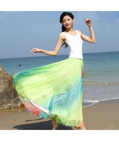 Colorful Rainbow Boho Skirt Elegant Red Green Blue Long Skirt Summer Beach Big Swing Women Skirt - Green - 4Q3968427383-2