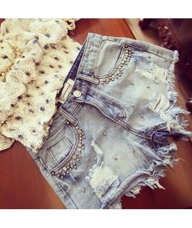 NEW Summer Beaded Denim Shorts Female Casual Vintage Women Jeans Shorts Tassel Denim Shorts High Quality Wash Jeans - Blue -...