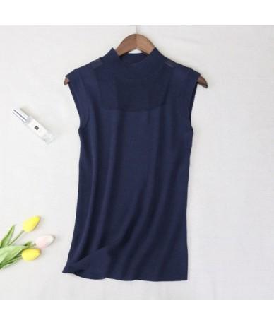 2019 Summer Tank Tops Women Basic Knitted T-shirts Sleeveless Ice Silk Vest Tee Shirt Hollow Out Loose Casual Short Tops Fem...