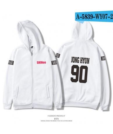 2018 SHINee Jonghyun Kpop Anime Zipper Hoodies Sweatshirts Women Hoodies Unisex Hip Hop Fans Fashion Zipper Clothes - White ...