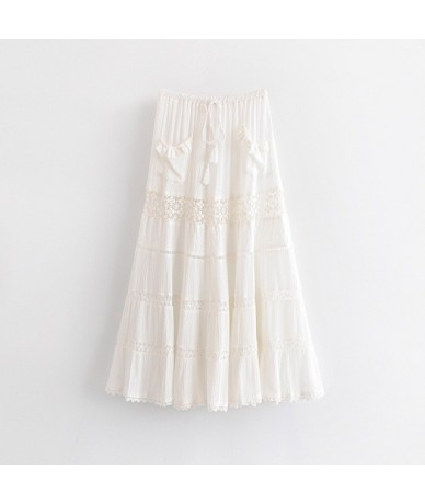 2019 New Bohemian Stitching Hollow Out Lace White Skirt Vintage Women Lacing up Waist Tassel Waist Maxi Long Swing Skirts Fe...