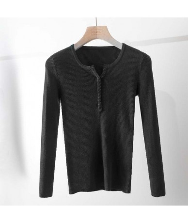 casual Autumn spring Basic Sweater pullovers Women v-neck Solid Knit Slim Pullover female Long Sleeve warm button Sweater - ...