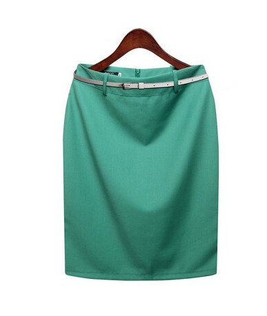 New Summer Autumn Fashion Office Solid Color Women's A line Knee Length Plus Size 3XL Skirt Belt Color Send Randomly DF245 -...