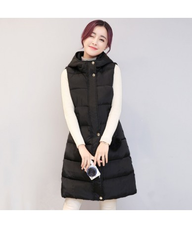 Solid collar hooded winter women vest with fur ball long autumn cotton-padded womens waistcoat large yards colete 2017 fashi...