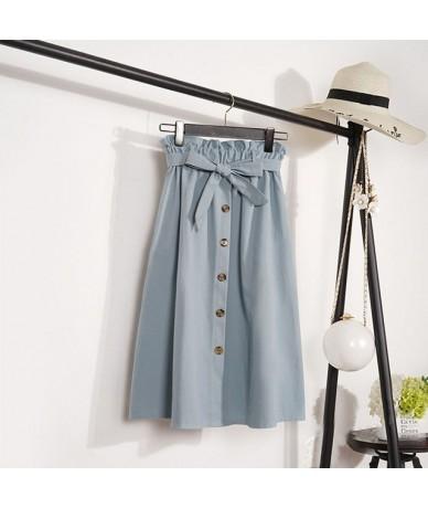 Spring Summer Skirts Womens 2019 Midi Knee Length Korean Elegant Button High Waist Skirt Female Pleated School Skirt - Blue ...