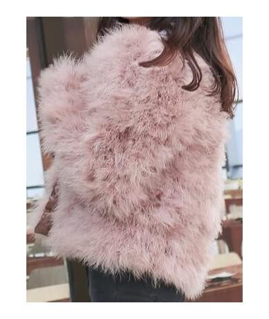 2017 New Winter Warm Solid Fur Coat Long Sleeve Natural Ostrich Girls Outerwear Kids Jacket - Dark Grey - 423629050734-1