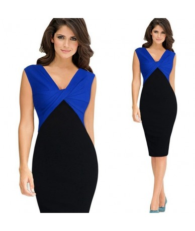 Women Elegant Sexy V-neck Ruffle Ruched Sleevesless Party Work Fitted Stretch Slim Wiggle Pencil Bodycon One Piece Dress Sui...