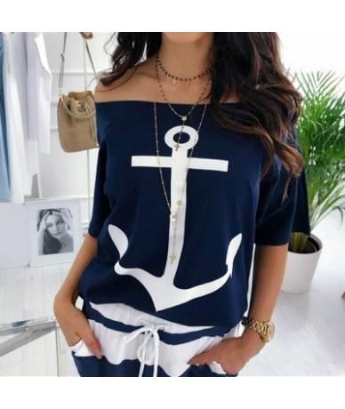 Women Sexy Off Shoulder Blouses Summer Slash Neck Batwing Sleeve Blouses shirt Casual Loose print White Blusa Tops 5XL - Nav...