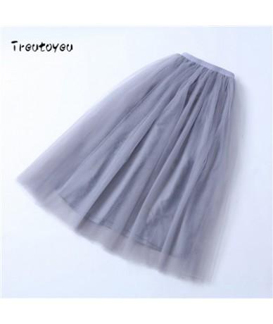 5 Layers Maxi Long Women Skirt Tulle Skirts Bridesmaid Wedding Skirt Free Size Faldas Saias Femininas Jupe - Smoke Grey - 4O...