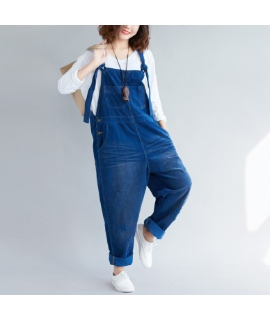 Women Loose Corduroy Scratched Retro Jumpsuits Ladies Solid Color Holes Vintage Loose Rompers Pants Trousers Female Overalls...