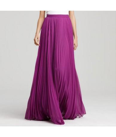 Elegant Long Skirt Pretty Purple Pleated Maxi Skirt Zipper Style Summer Beach Skirt Women High Quality Chiffon Saia Longa Fa...