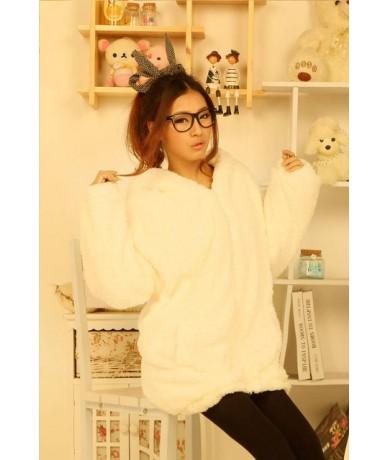 New Women Hoodies Zipper Girl Winter Loose Fluffy Bear Ear Hoodie Hooded Jacket Warm Outerwear Coat cute sweatshirt zip-up -...
