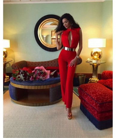 New Arrival Sexy Key Hole Red Women Jumpsuit 2017 Ladies Knitted Designer Skinny Party Jumpsuit - 4U3937649148