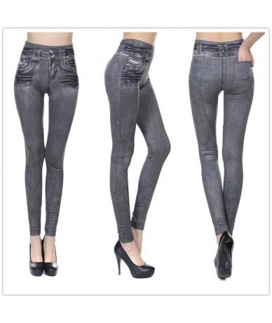 Plus Size Sexy Push Up Fake Jeans Leggins for Women Denim Pencil Pants Slim Fitness Jeggings Leggings With Two Real Pockets ...