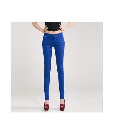 Women's Pencil Jeans Plus Size 32 Candy Pants 2019 Trousers Mid Waist Full Length Zipper Stretch Skinny Pants WKP348 - sapph...