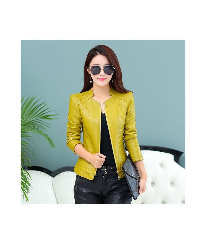 2019 Casual Long Sleeve Women Soft PU Leather Jacket Outerwear Winter Autumn Female Slim Faux Leather Coat Ladies Jacket M-4...