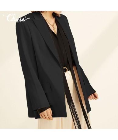Women Solid Lapel Blazers Celmia 2019 Autumn Casual Long Sleeve Button Pleated Coats Jackets Loose Pockets OL Work Blazers F...
