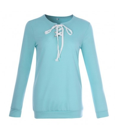 Women Casual Hoodies Fashion Lace Up Hoodies Sweatshirt Female Solid Pullover Hoodies Tracksuit Top Christmas Jumper - light...