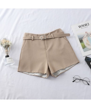 2019 Spring Women High Waist Shorts Casual Western Style Straight Outwear Suit Shorts Women Short Pants With Sashes - Khaki ...