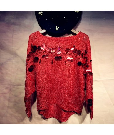 Woman hook Hollow out Sequins Sweater thin loose Holes Pullover bat Sleeved Beading Shirt sequined blouse Oversize Smock 201...
