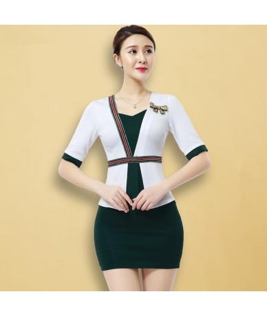 Women suits Slim summer V-neck Short sleeve Blazers skirt 2 pieces set Sexy Women skirt suits Women set suits 2305 - Green -...