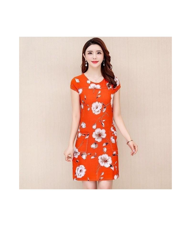 L-5XL 2019 Women Dresses Plus Size Slim Tunic Milk Silk Print Floral Printed Vestido Feminino Loose Casual Dress - 1 - 42380...
