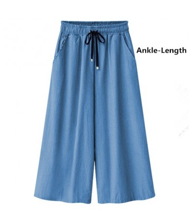 Jeans for women summer high waist plus size Elasticity Ankle Length loose Wide leg Female denim pants - light blue ankle - ...