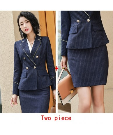Workwear Pant Suits 2 Piece Set for Women Double Breasted Striped Blazer Jacket & Trouser & Falda Office Lady Suit Feminino ...