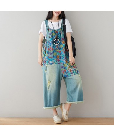 Vintage Flower Printed Holes Ripped Jean Jumpsuit Plus Size Wide Legs Bib Overalls For Women Drop Crotch Denim Rompers - Lig...