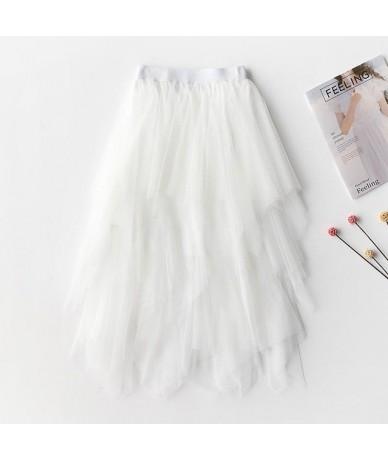 Vintage Fragment Stitching Tulle Skirts Womens Black White Adult Long Skirt Elastic High Waist Pleated Beach Midi Skirt - SH...