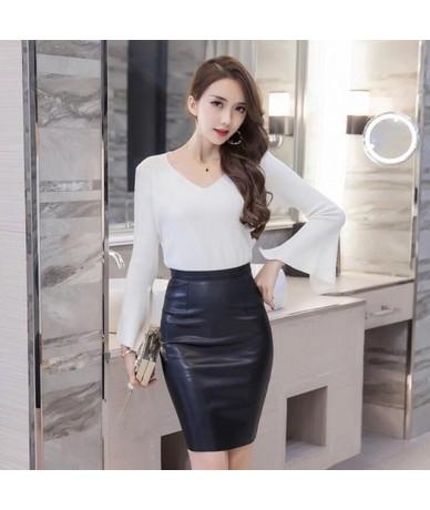 Plus Size XXXL Faux Leather Women Pencil Skirts 2019 Ladies Vintage Style Black High Waist Knee-Length Skirt Saia S1104 - Bl...