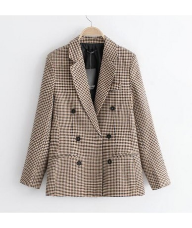 2018 women plaid blazer autumn Blazer cotton linen notched single button drop shipping SML office lady casual female coat gr...