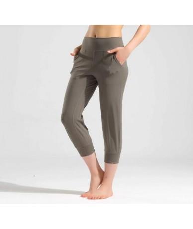 Women Capris 4 way Stretch Fabric Boot Cut Casual Leggings with Outside Pockets Wide Leg Leggings - Light coffee - 4O4134608...