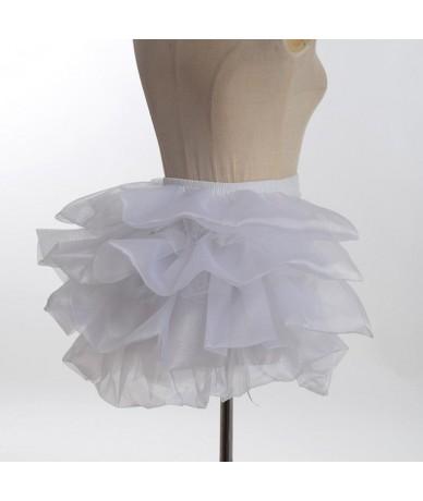 Ladies Adjustable Bustle Skirt Lolita Party Petticoat Burlesque Tutu Tail Skirt - White - 433062433572-2