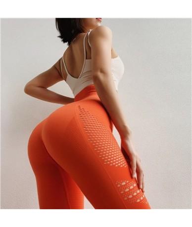 Women Legging Fitness High Waist Peach Hip Elastic Leggings Hollow Breathable And Quick-drying Leggings Sexy - Orange - 4A41...