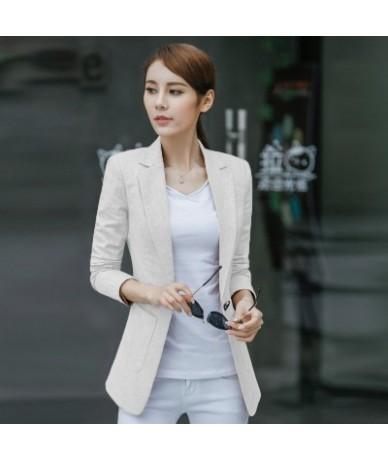 100% Linen Plus Size 4XL Spring Jacket Female Coats Blazer Feminino Long Sleeve One Button Women Suit Jackets Office Blazers...