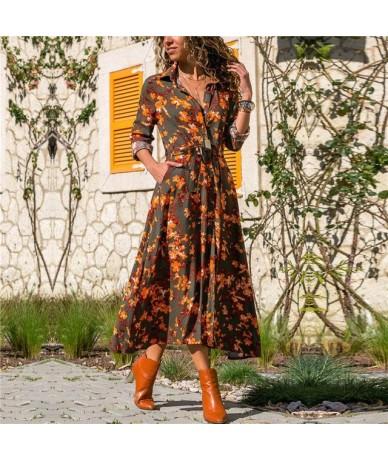 Long Dress Women Floral Print Summer Beach Chiffon Dresses Bohemian Long Sleeve Vintage Holiday Party Dress Vestidos De Fies...