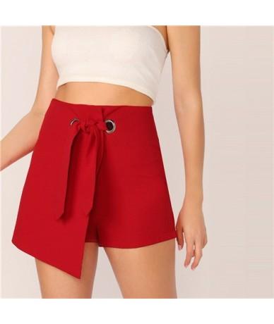 O-Ring Belted Asymmetrical Wrap Shorts 2019 Solid Zipper Fly Elegant Women Summer Culottes Shorts High Waist Shorts - Red - ...