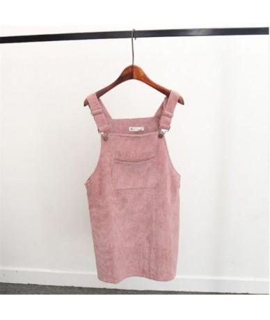 New Summer Women Corduroy Suspender Overall Vest Jumpsuit Braces Skirt Suspender skirts Preppy Style - As photo shows - 4M30...