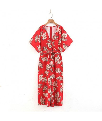 summer flower print red jumpsuit romper women sexy v neck overalls holiday new arrival jumpsuits female QB95 - Red - 4030914...