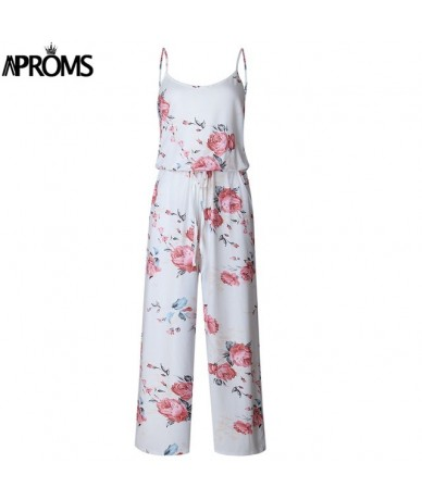 Khaki Boho Sweet Floral Print Jumpsuit Romer Women Sexy Strap Bow Tie Waist Beach Playsuit Overall for Women Clothing - Whit...