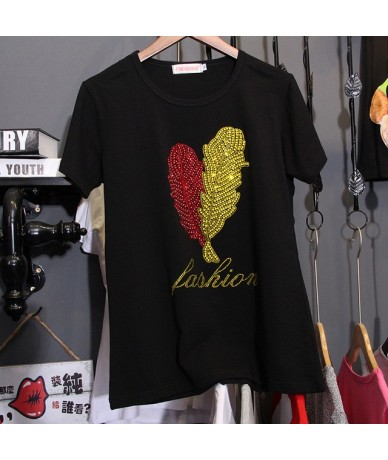 loose Large size 3XL Pure cotton Hot drilling black T-shirts women short sleeve summer Korean version Tees Tops 2018 Trend C...