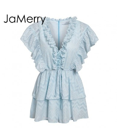 Vintage elegant ruffled blue women romper Summer short sleeve sashes jumpsuits Casual party sweet overalls rompers 2019 - Sk...