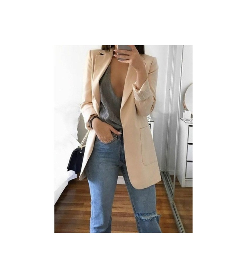 Suit jacket female 2019 autumn solid color double pocket solid color large size cardigan suit ladies jacket women's clothing...