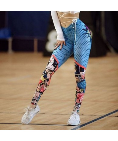Sexy High Waist 3D Printing Leggings Women Push Up Skinny Stretch Polyester Legins Fitness Workout Breathable Leggings - Blu...