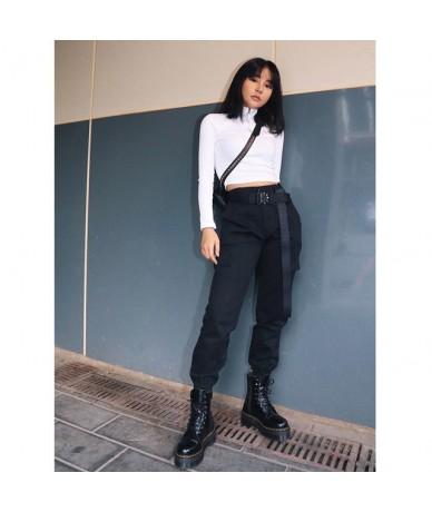 Harajuku streetwear Black high waist Camo pants Joggers women pockets khaki Cargo pants women loose trousers - black - 4H305...
