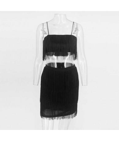 2019 Women Sets Summer Tassel Dress Elegant Club Party Dresses Sexy Off Shoulder Embellished Mini Fringe 2 Pieces Set - Red ...