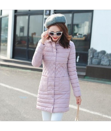 Stand Collar Long Female Winter Jacket With Hood Warm Thicken Women Winter Jacket Outwear Cotton Padded Women Coat Parka - P...